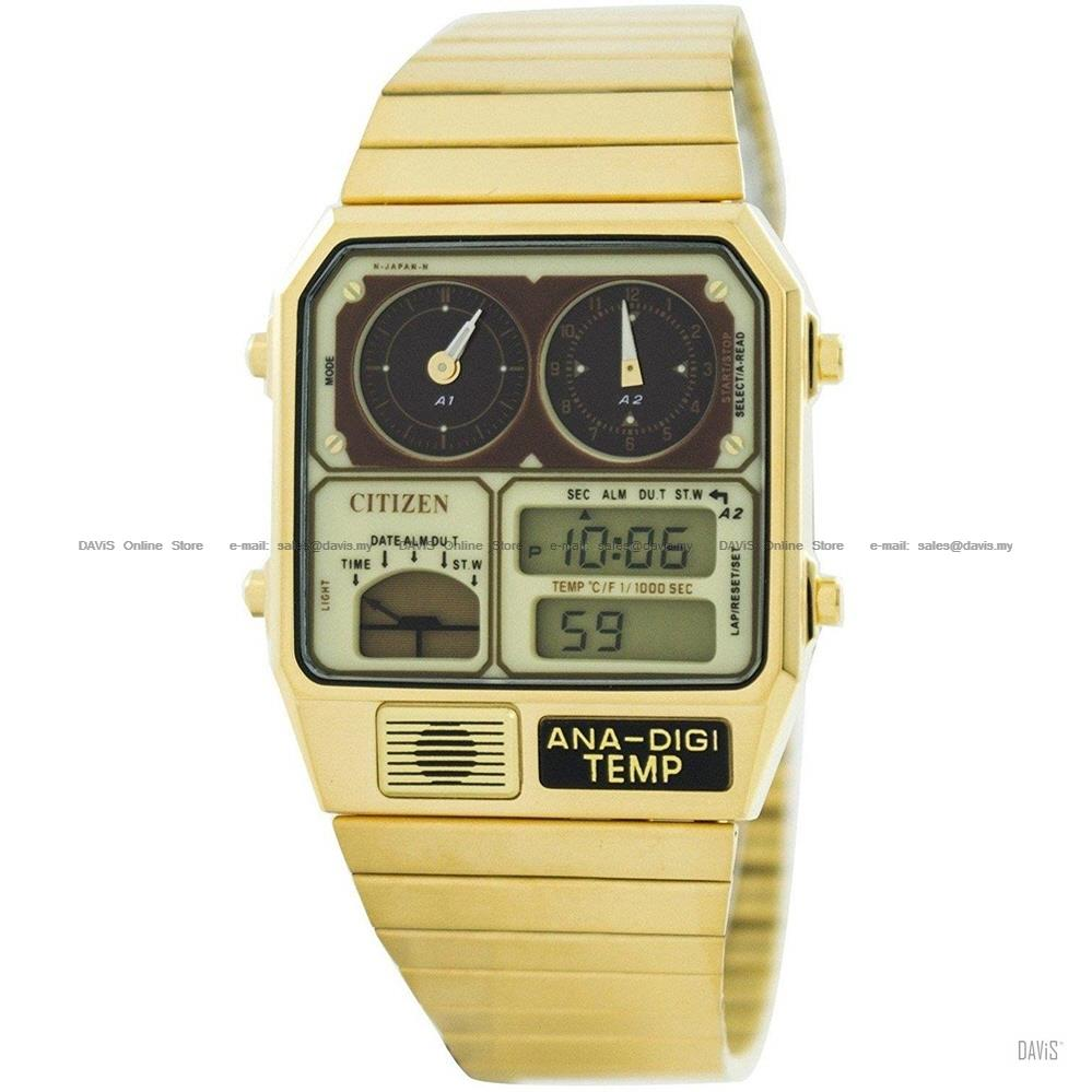 CITIZEN JG2002-53P Quartz Ana-Digi Temp Retro Gold *New Old Stock