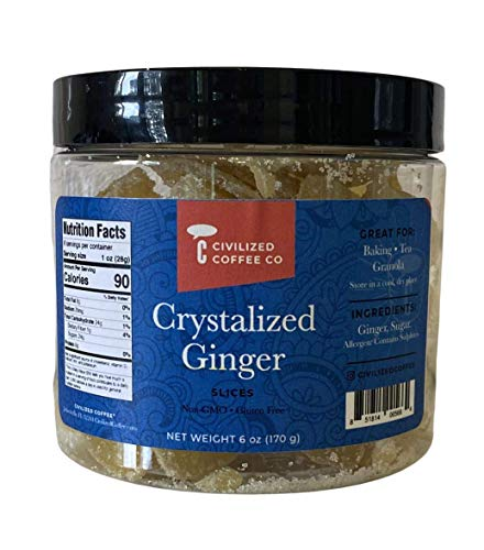 Civilized Coffee Crystalized Ginger Slices , Non-GMO, Gluten-Free (6 oz)