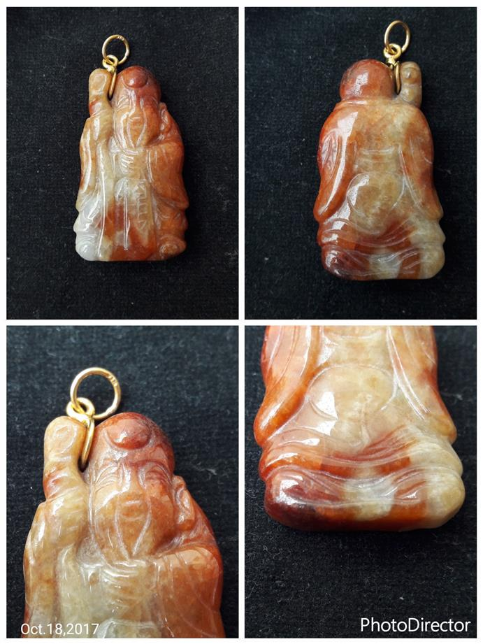 Class A red jade Longevity God with 916 gold hook pendant