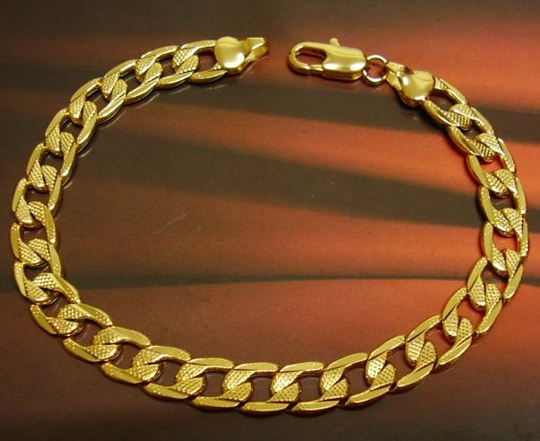 Classic Curb Chain 20K IPG Ion Gold Plated Brass Filled Bracelet