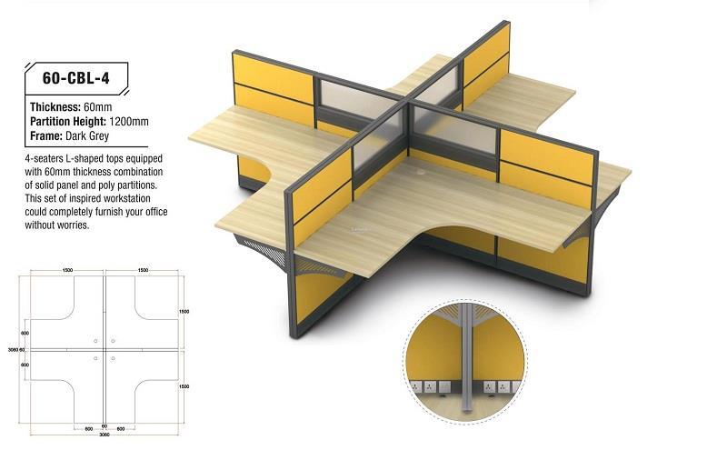 Classic series 4-Seaters L-Shape Desk Table Partition Workstation