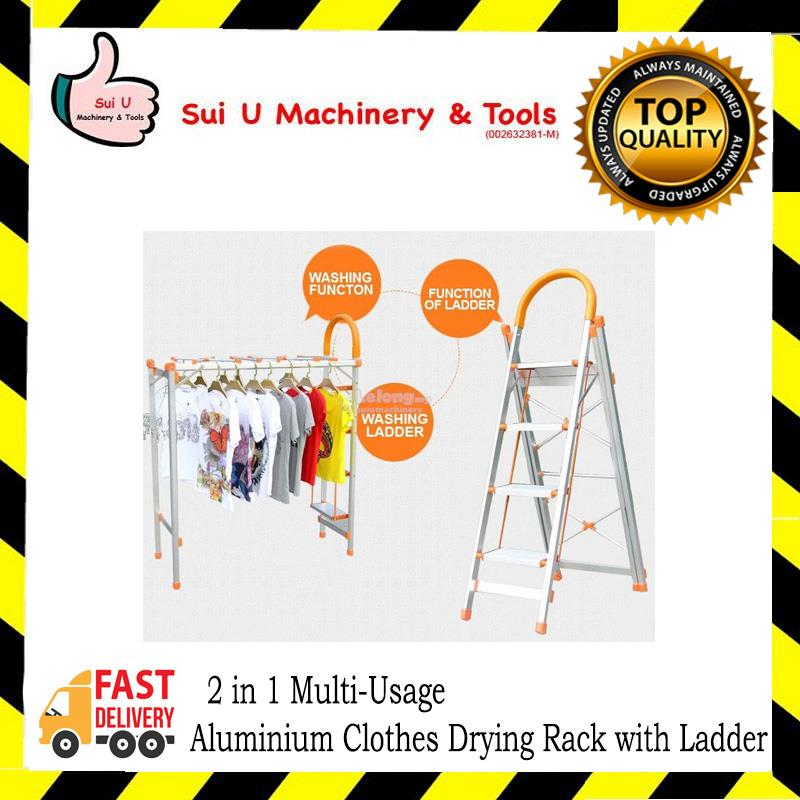 CLASSY MOM AA-04 2 in 1 Multi-Usage Aluminium Clothes Drying Rack with