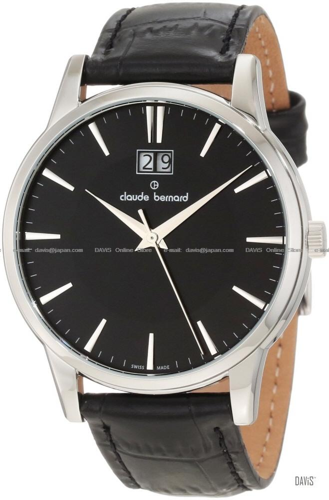 Claude Bernard . 63003 3 NIN . Classic (M) Big Date Leather Black