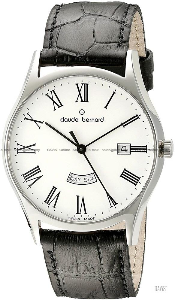 Claude Bernard . 84200 3 BR . Classic (M) Day Date Leather White