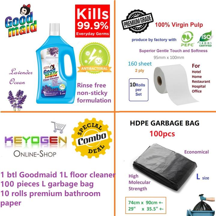 Cleaning COMBO - Floor cleaner 1L+ 100 Garbage bag L + 10 toilet rolls