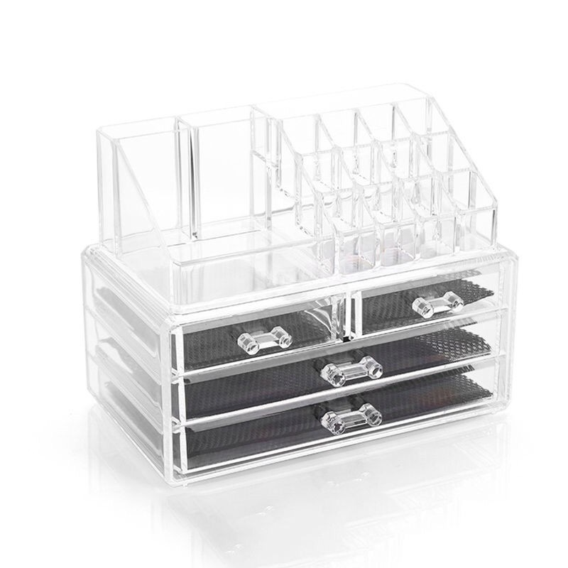 Clear Acrylic Cosmetic Makeup Storage Organizer Box Lipstick Stand Hol