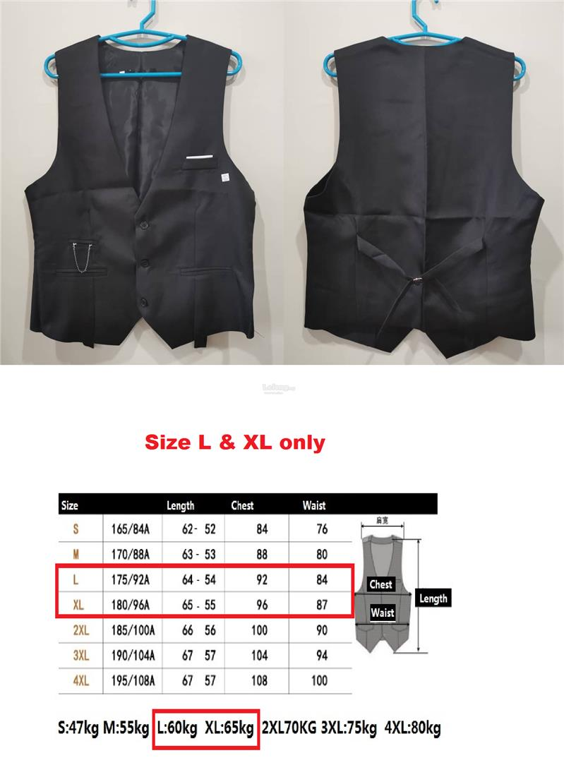 Clear stock ! Mens Vest for Formal Suit Tank Top (L/XL)