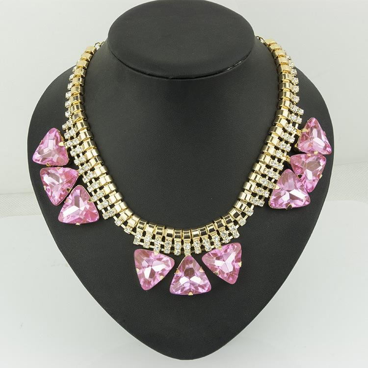 Clearance FRAGILE Elegant Luxury Diamond Short Necklace PINK