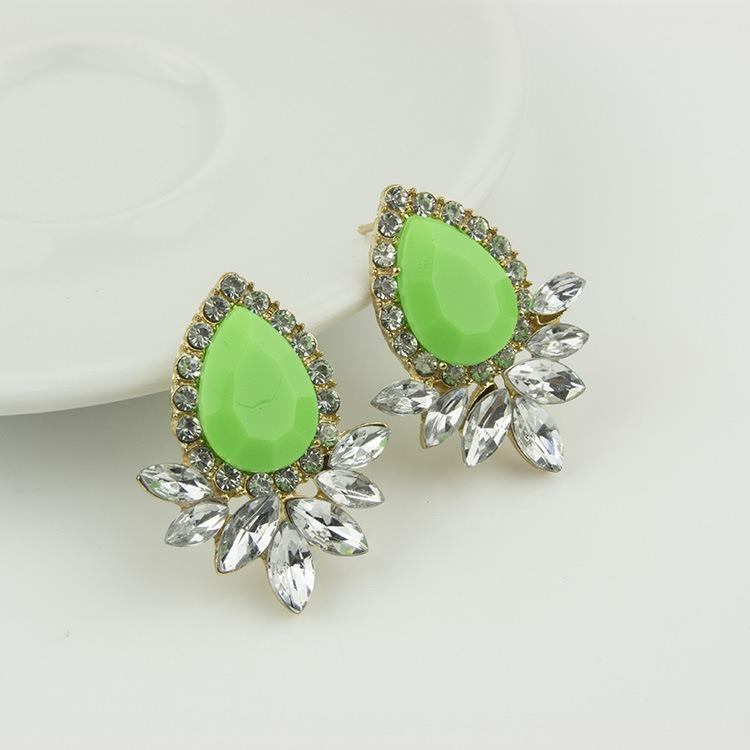 Clearance Korean Candy Colored Gemstone Stud Earrings GREEN