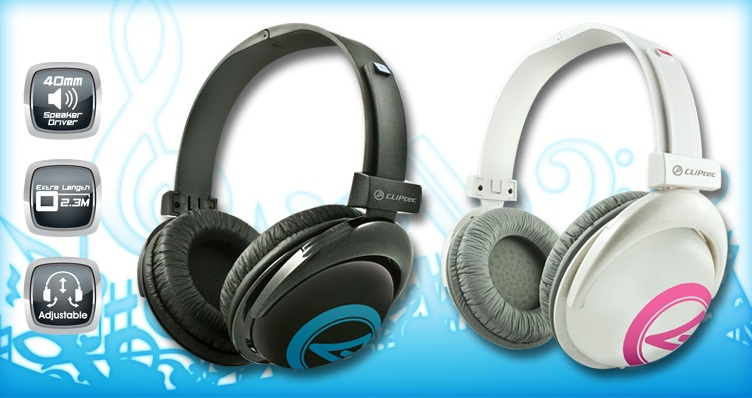 CLIPTEC BIG HEAD MULTIMEDIA HEADPHONE (BMH719) BLK/WHT