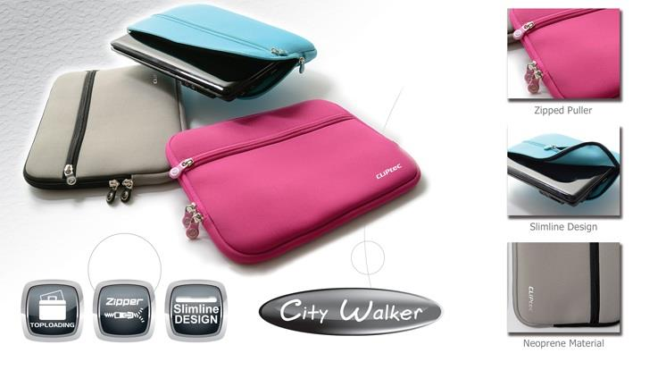 CLIPTEC CITY WALKER 12' NOTEBOOK SLEEVE BAG (CZG712) GRY/PINK/BLUE