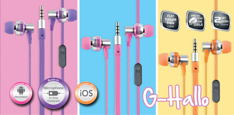 CLIPTEC G-HALLO EARSET (BME757) ORG/PINK/PURPLE