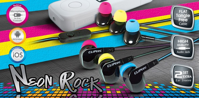 CLIPTEC NEON ROCK EARSET (BME737) BLUE/PINK/YELLOW