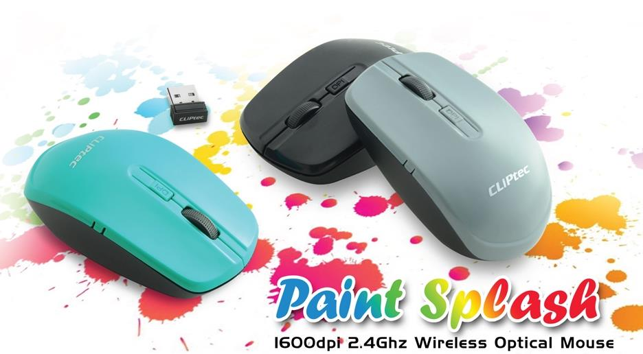 CLiPtec PAINT SPLASH 1600dpi 2.4GHz Wireless Optical Mouse RZS844