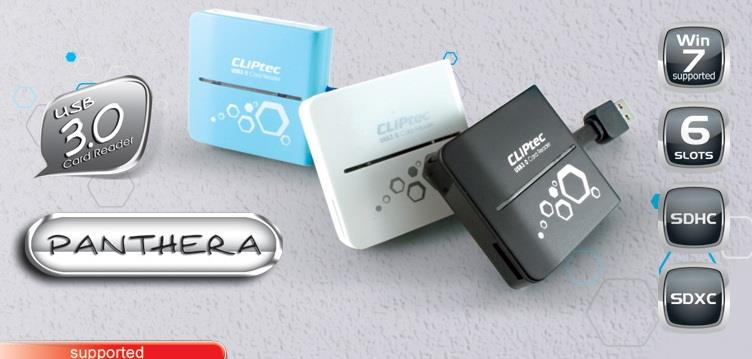 CLIPTEC PANTHERA USB 3.0 ALL IN 1 CARD READER BLK/BLUE/WHT (RZR362)