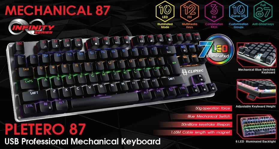 CLiPtec PLETERO87 USB Professional Mechanical Keyboard RGK815