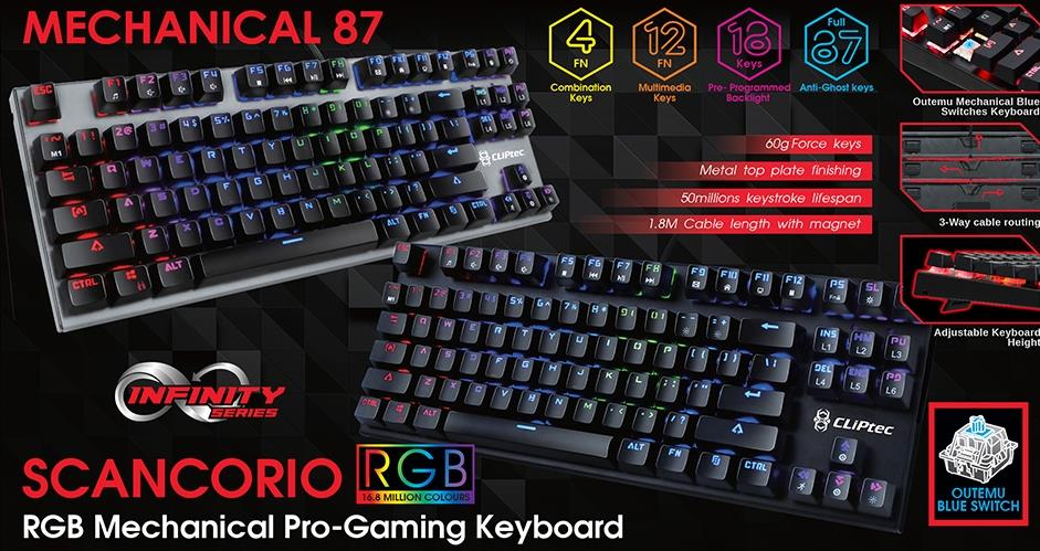 CLiPtec Scancorio RGB Mechanical Pro-Gaming Keyboard RGK830