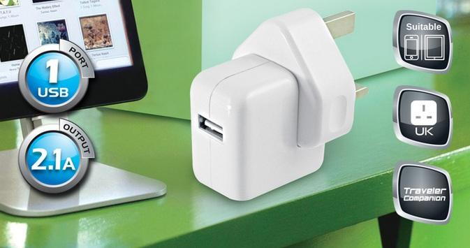 CLIPTEC SINGLE USB PORT 2.1A HOME CHARGER (GZU395) WHT
