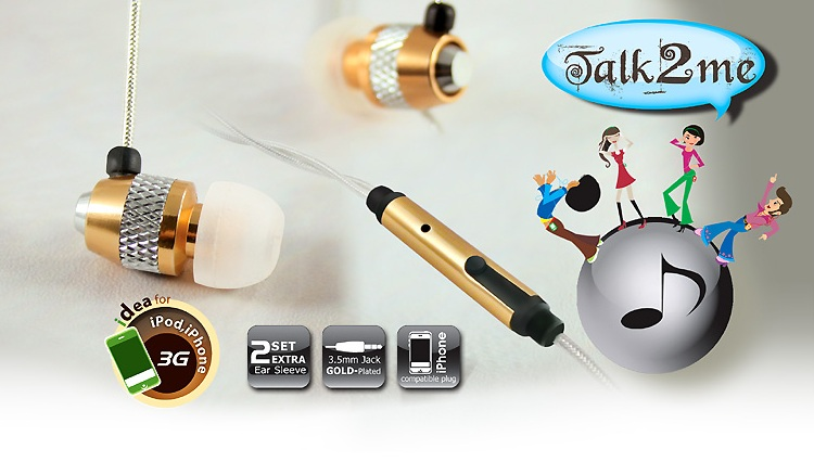 CLIPTEC TALK 2 METALICA IN EAR EARSET (BME717) GOLD/SIL