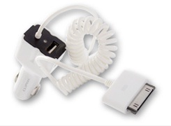 CLIPTEC UNIVERSAL CAR CHARGER WITH APPLE 30-PIN CABLE (GZU393) WHT