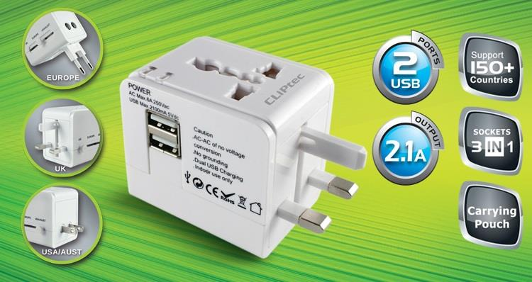 CLIPTEC UNIVERSAL TRAVEL ADAPTER WITH 2-PORT USB (GZJ171)