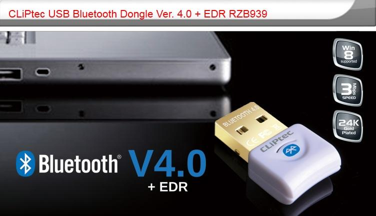 CLIPTEC USB BLUETOOTH 4.0 DONGLE ADAPTER (RZB939)