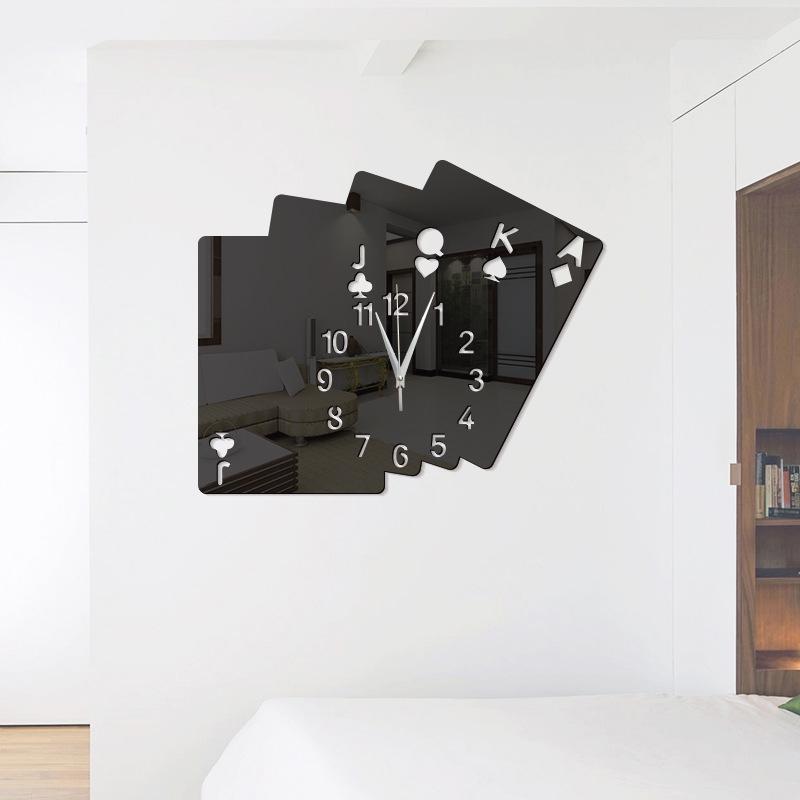 CLOCK STICKER DIY Poker Acrylic Mirror Wall