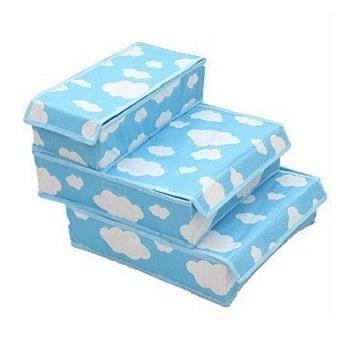 Cloud Covered Storage Boxes 3 pieces set