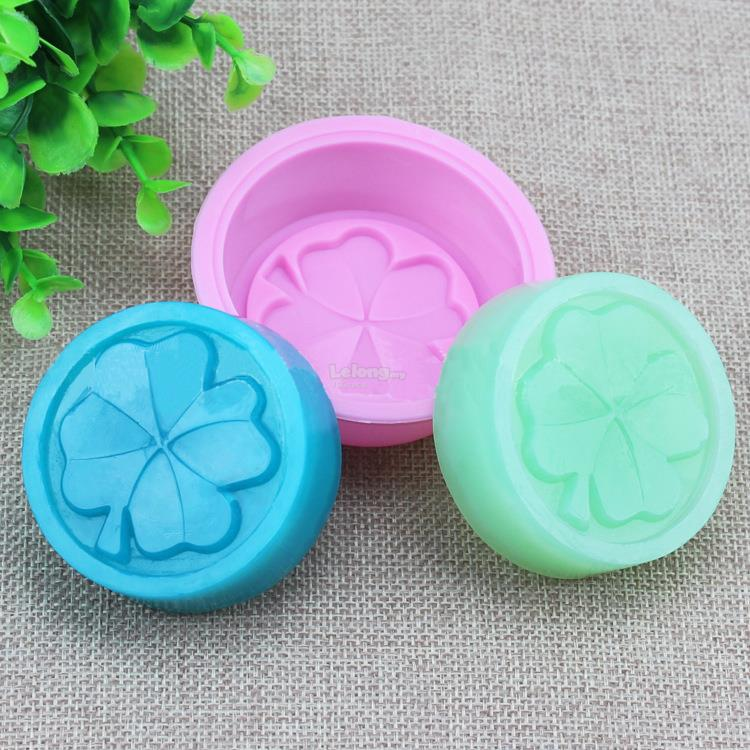 Clover Leaf Round Silicone Mould Mold Chocolate Cake Soap Jelly