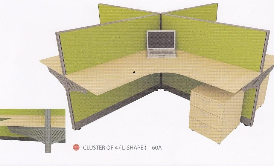 Cluster of 4 pax L-shape Office Table Workstation Partition