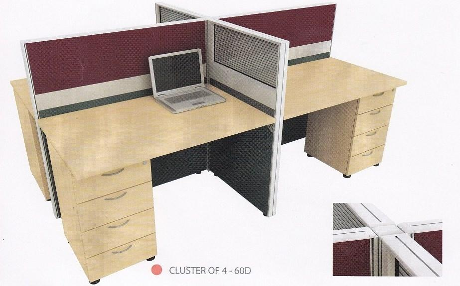 Cluster of 4 pax Office Table Workstation partition system