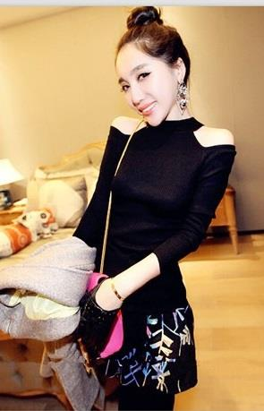 [CM212092] Trendy Top Black
