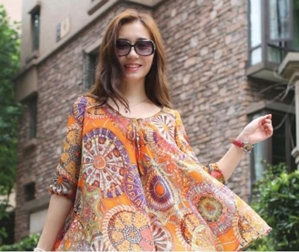 [CM212448 NEW] Stylish Chiffon Top Orange