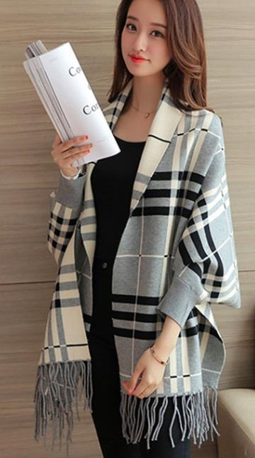 [CM37291G-NEW] Checker Cardigan Grey