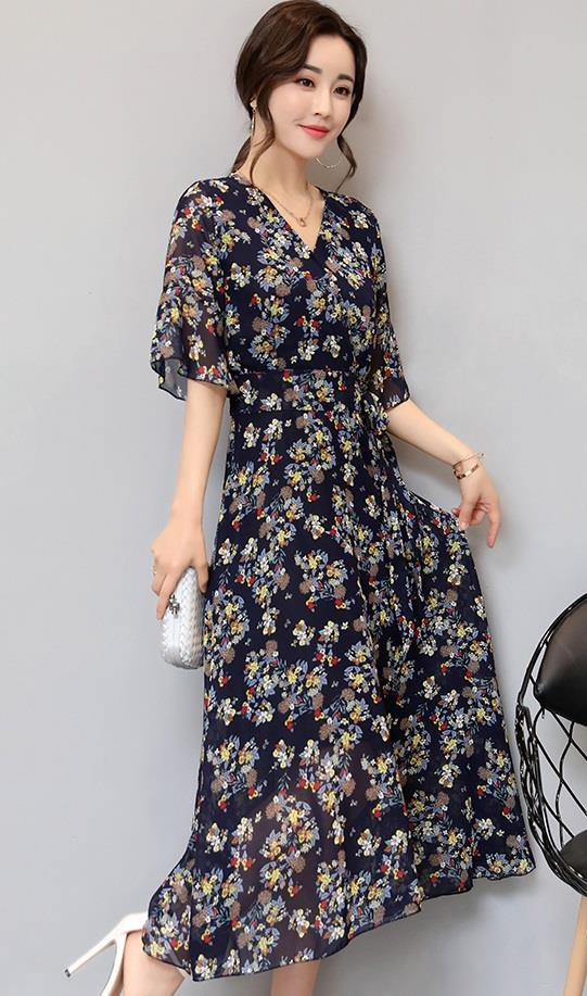 [CM38253B] Elegant Floral Dress Blue