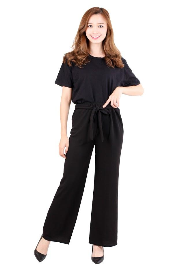 [ CM4274 NEW ] Bow Tie Casual Pant Black
