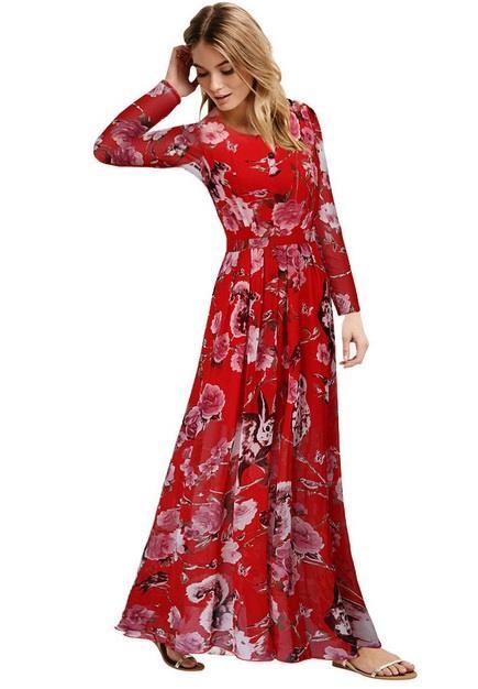 c533d8640 [CM66298R] Floral Maxi Dress Red (end 1/15/2019 10:15 AM)