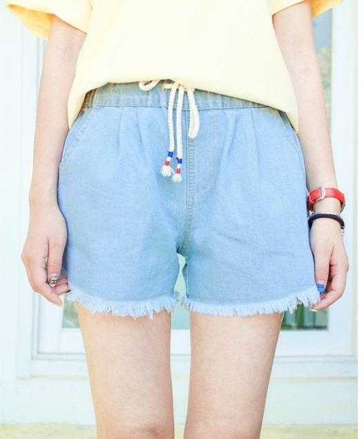 [CM71264LB] Women Denim Short Pant Light Blue