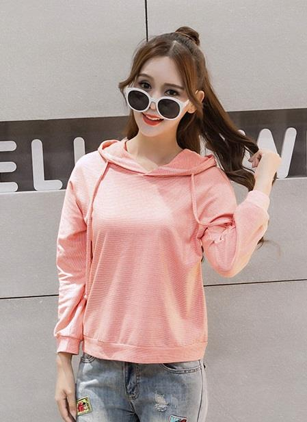 [CM72264P] Fashion Women Hooded Top Pink