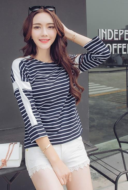 [CM73288B] Women Fashion Stripe Top Blue