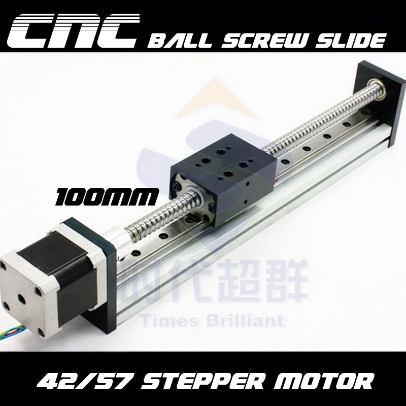 CNC ~ 100MM Ball Screw 1204 Slide Rail Linear + 57 /3A Stepper Motor