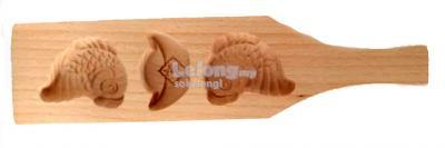 CNY Wooden Double Koi and Ingot Shortbread Mooncake Mould