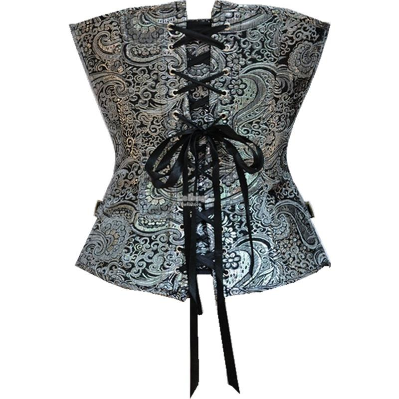 Coat dress court print steel buckle silver corset body corset