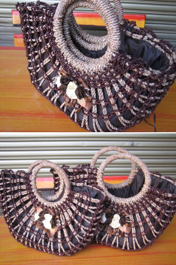 <B>(CODE JS03) IMPORTED HIGH QUALITY HANDMADE 2 IN 1 JUTE STRING HANDBAG</B>