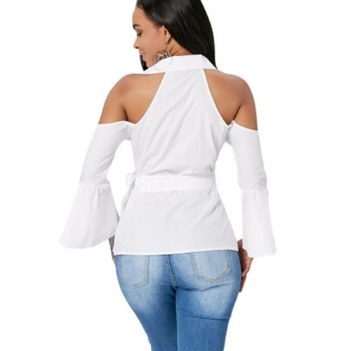COLD SHOULDER BELL SLEEVE TIE FRONT BLOUSE (WHITE)