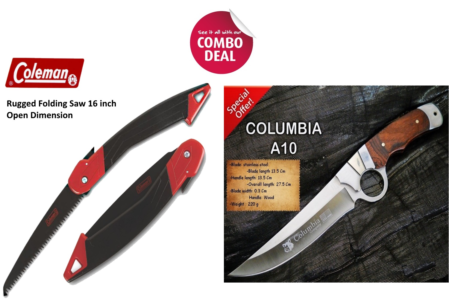 Coleman Outdoor Rugged Folding Saw with Columbia A-10 Saber Knife