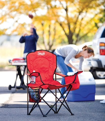 Coleman Portable Camping Quad Chair with 4-Can Cooler/from USA