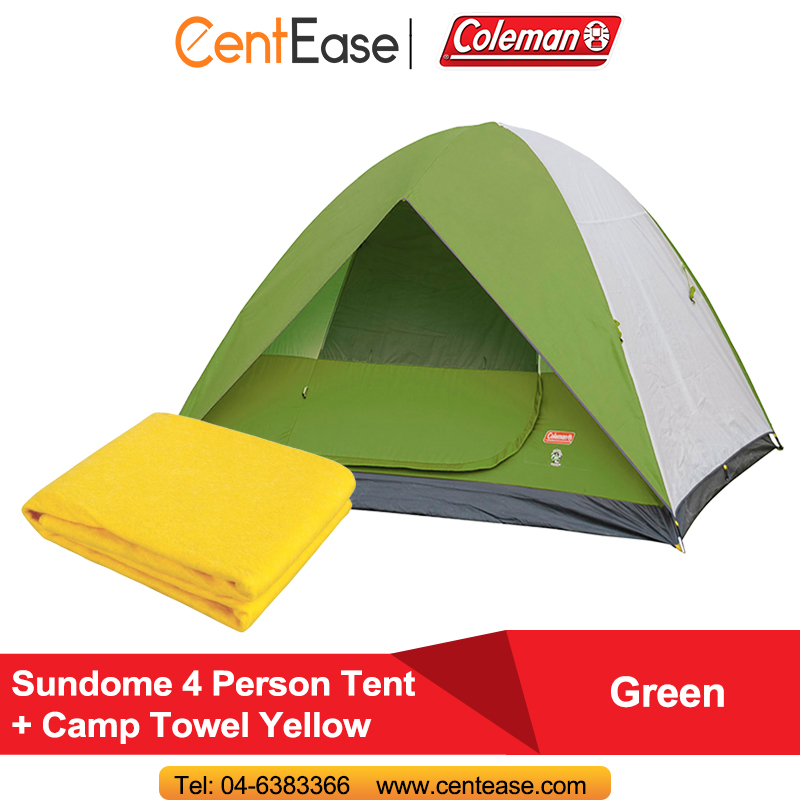 Coleman Sundome 4 Person Tent Green + C& Towel Yellow  sc 1 st  Lelong.my & Coleman Sundome 4 Person Tent Green + (end 7/1/2019 5:47 PM)