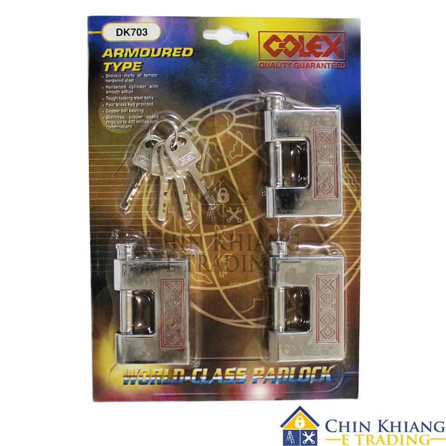 COLEX Armoured Chrome Padlock Key Alike Padlock 70mm