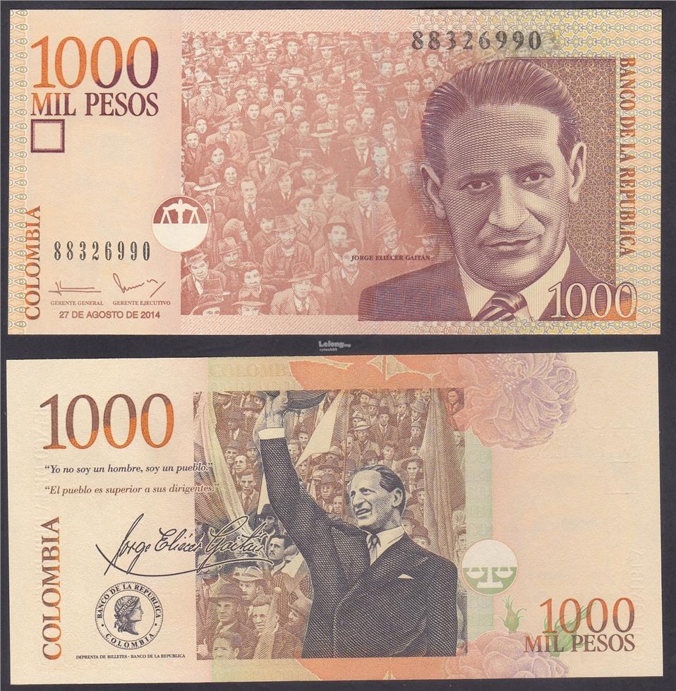 Colombia 2014 1000 Peso UNC P-456q